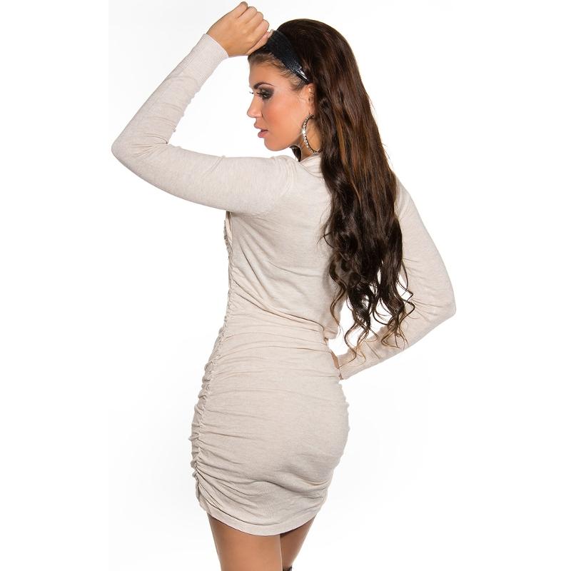 Luxusné úpletové šaty s topom Koucla - krémové ... 1eb51a1320e
