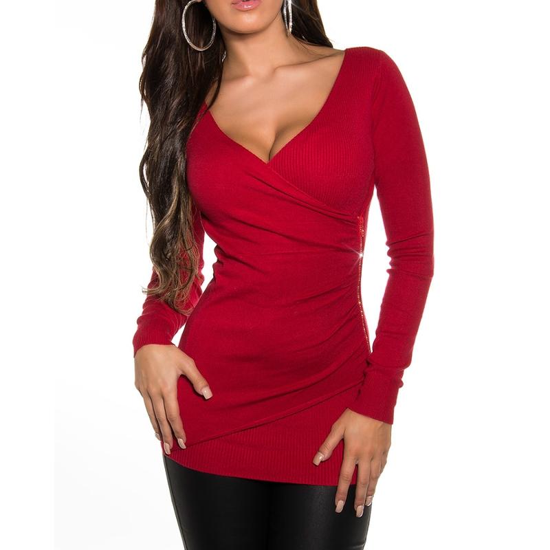 ea2b75e0dd5a Elegantný dámsky sveter Koucla - červený