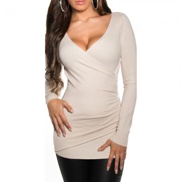 Elegantný dámsky sveter Koucla - krémový 8428377b32